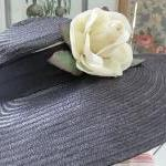 Navy Straw Ladies Hat with ..