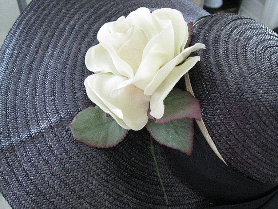 Navy Straw Ladies Hat with Creamy Velvet Rose Vintage 60s